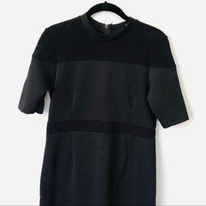 ASOS | Black Scuba Mesh Detailed Midi Dress